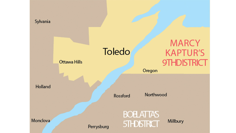 Rep Latta represents Sylvania, Ottawa Hills, Maumee, Perrysburg, Rossford, and parts of Toledo (around Franklin Park Mall and parts of South Toledo). The Toledo area included in Ohio's 5th congressional district is designated in pink on the map. Rep. Kaptur represents Ohio's 9th congressional district, which, in the Toledo area, encompasses the bulk of Toledo and Oregon.