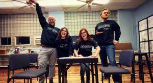 (L-R) Jon Wray, Katelyn Lesle Levering, Sarah Pettee, and Bradley King. Photo credit is Lauren DePorre!