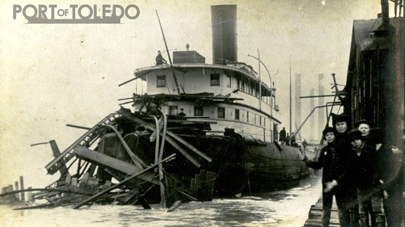YUMA after collision into Cherry Street Bridge – March 6th 1908. Photo courtesy of the National Museum of the Great Lakes.