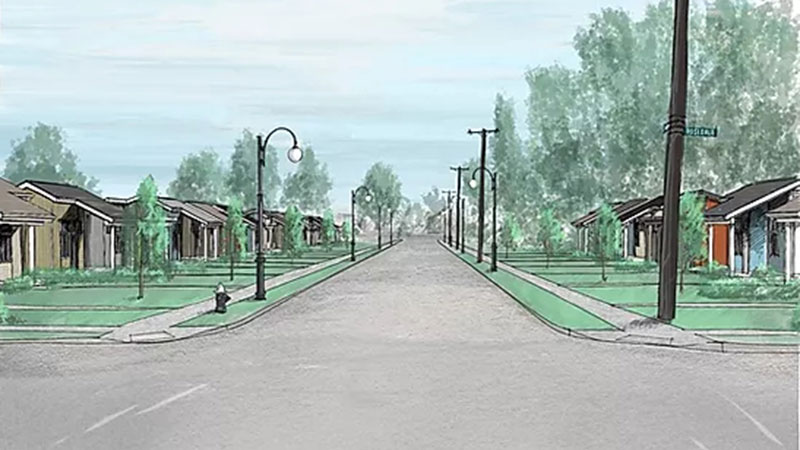 A model of what Bluff Street will look like upon completion of the Bluff Street Village project. Rendering courtesy Bluff Street Village.