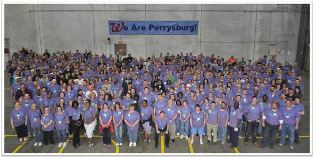 CUTLINE: We are the Walgreens Perrysburg Distribution Center. We have great team members who have risen to this challenge, and who have given up so much (working 10-14 hr shifts) to help our stores remain open and to protect our customers.