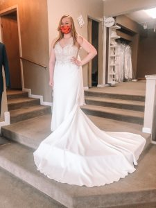 All brides with appointments at Atlas are required to wear a mask in the store, even during their try-on.