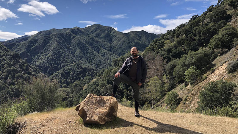 Brent Haas hiking on a personal day, at Tassajara, Zen Mt. Center.