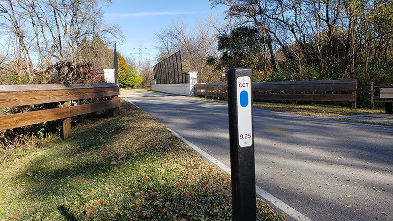 Sample of the trial markers on The Chessie Trail.