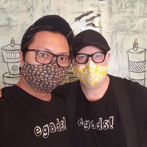 Egads online crafter couple wearing masks