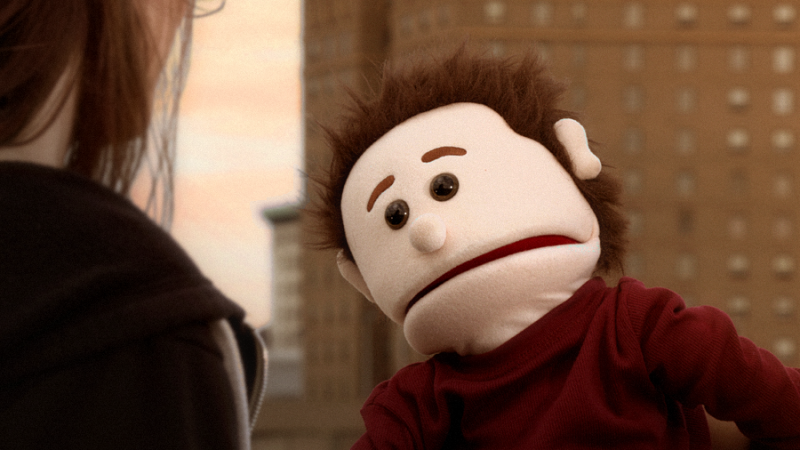 Callie Bussell and Charles Wetzel Jr. in puppet form.