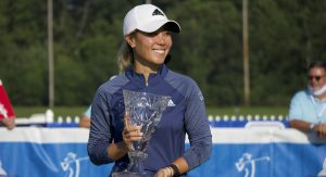 Danielle Kang holds her trophy after winning the Marathon Classic on August 9, 2020, at Highland Meadows Golf Club. Photo: Nolan Cramer